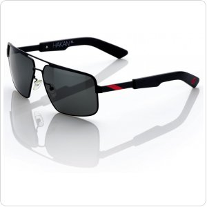 "Спортивные очки 100% ""HAKAN"" Sunglasses Matte Black/Red - Grey Tint"