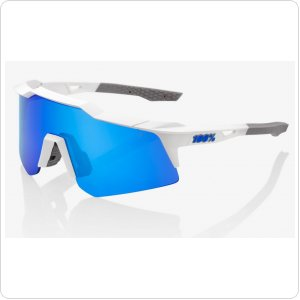 Велосипедные очки Ride 100% SpeedCraft XS - Matte White - Blue Multilayer Mirror Lens