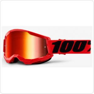 Детские мото очки 100% STRATA II Youth Goggle Red - Mirror Red Lens
