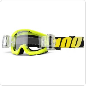 Детские мото очки 100% STRATA JR Mud Goggle Neon Yellow - Clear Lens