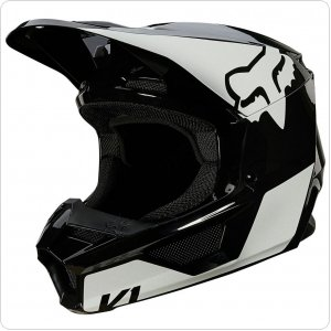 Детский мотошлем FOX YTH V1 MIPS REVN HELMET [Black/White]